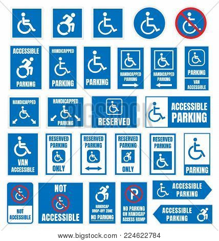 accesible parking signs, disabled people parking icons