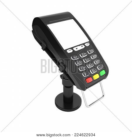 card payment terminal POS terminal with empty screen isolated on white background without shadow 3d render