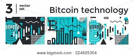 Vector set abstract background, illustrative typography horizontal banner for Blockchain, cryptocurrencies , bitcoin and distributed ledger technology concept. Block chain, network connect