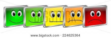 five colorful Voting Buttons - 3D illustration