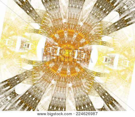 Glowing Stargate With Particles In Space. Abstract Fractal Background. A Large File Showing Many Det