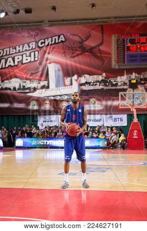 SAMARA, RUSSIA - DECEMBER 01: BC CSKA guard Aaron Jackson (9) prepares to shoot a free throw during the BC Krasnye Krylia game on December 01, 2013 in Samara, Russia.