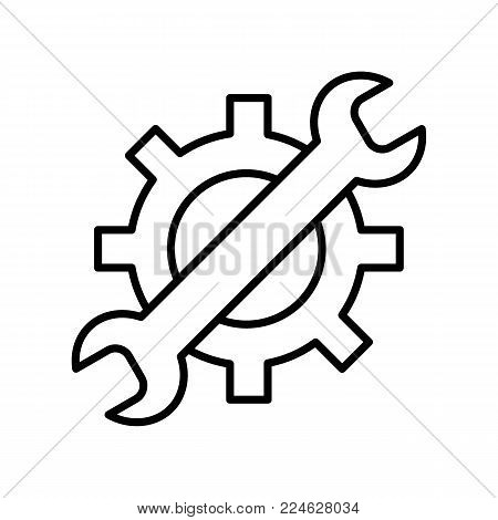 Wrench and gear vector icon, a symbol of development and customization. Repair service, car service. Outline design. Eps10