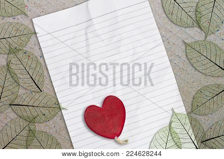 Red Heart Leave On White Paper Sheet Background