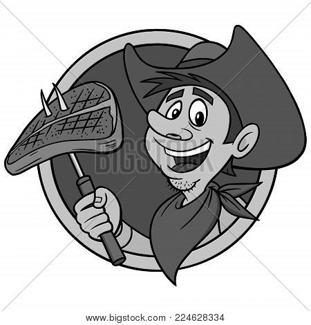Cowboy Steak Illustration - A vector cartoon illustration of a Cowboy Mascot with a steak.
