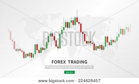 Stock market candlestick chart with world map vector illustration. Green and red japanese candle bars graph with sample text graphic design.