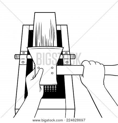 Hands of executioner sharpen ax on grindstone coloring vector illustration. Isolated image on white background. Comic book style imitation.