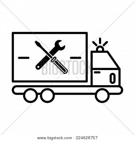 repair sign of auto service with truck and spanner silhouette. Vector icon. Flat contour icon isolated on white. Eps 10.