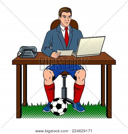 Businessman soccer football player pop art retro vector illustration. Work and rest metaphor. Isolated image on white background. Comic book style imitation.