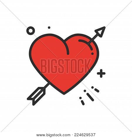 Love line arrow heart icon. Happy Valentine day sign and symbol. Love, couple, relationship, dating, wedding, holiday, romantic amour tattoo theme