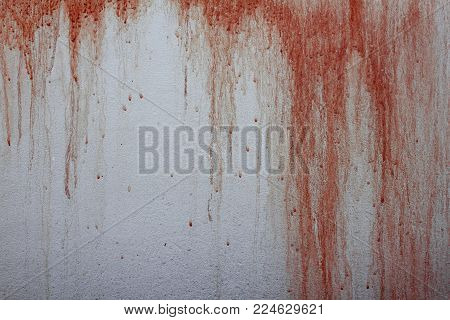 Halloween Background. Bloodstain On Concrete Wall Background