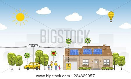 Solar battery system colorful vector illustration. Eco power source line art concept. House, family, car and solar electricity system graphic design.