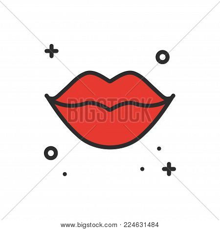 Red lips kiss line icon. Woman lips contour sign and symbol. Love relationship romantic tattoo theme. Female lips print. Lipstick kiss