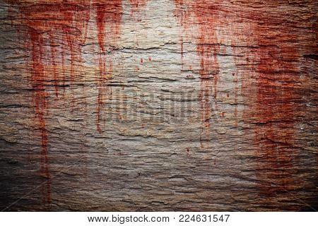 Halloween concept, Bloodstain on wooden texture background