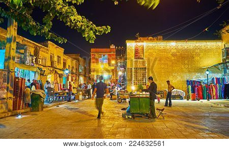 Shiraz, Iran - October 12, 2017: The Evening Street Of Bazar-e No With Open Stores, Street Food Vend