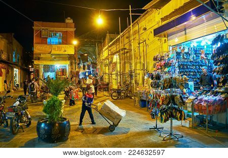 Shiraz, Iran - October 12, 2017: The Walk In The Evening Bazar-e No With Numerous Stalls And Street
