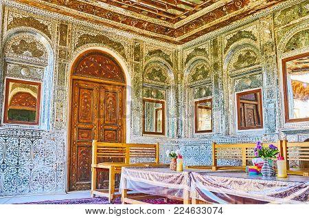 Shiraz, Iran - October 12, 2017: Zinat Ol-molk Mansion Includes The Masterpiece Summer Terrace, Deco