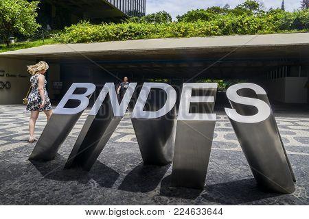 Rio de Janeiro, Brazil - Jan 11, 2018: Headquarters of BNDES, which stands for Brazilian Development Bank in downtown Rio de Janeiro, Brazil es