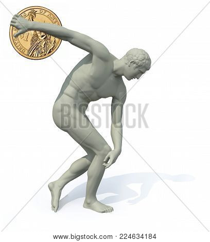 discobolus with dollar coin launching , 3d illustration