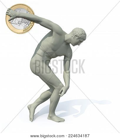 discobolus with euro coin launching , 3d illustration