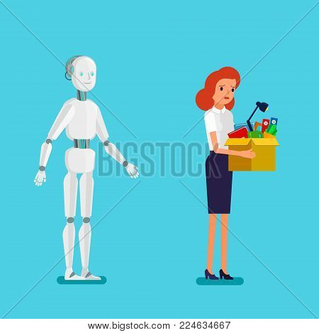 Concept of artificial Intelligence and business automation. Businessman standing with robot. Dismissed frustrated business people. Flat design, vector illustration.