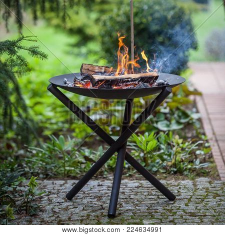 Fire pit in the summer garden