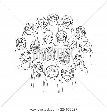 Old people. Hand drawn crowd. Faces of grandparents