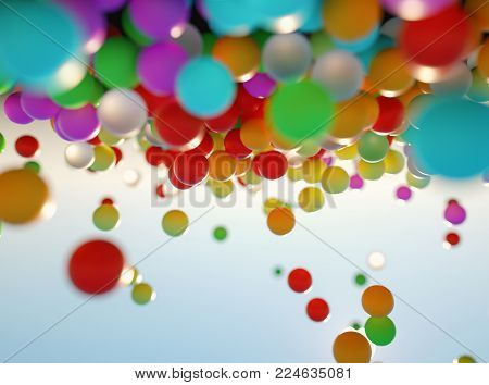 colorful bouncing balls outdoors against blue sunny sky - 3d rendering