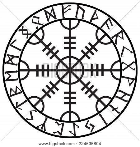 Helm of awe, helm of terror, Icelandic magical staves with scandinavian runes, Aegishjalmur, isolated on white, vector illustration