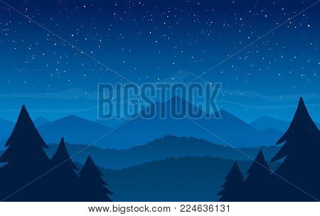 Vector illustration: Hand Drawn Night Mountains landscape with stars on the sky