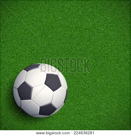 Soccer ball on green grass. Football stadium. Sports and recreation. Stock vector illustration.