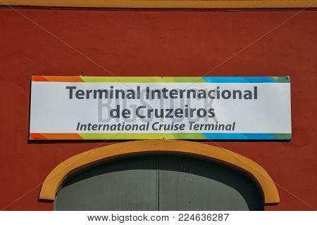 Rio de Janeiro, Brazil - Jan 11, 2018: Sign written in Portuguese regarding the international cruise ship terminal in Porto Maravilha district of Rio de Janeiro, Brazil