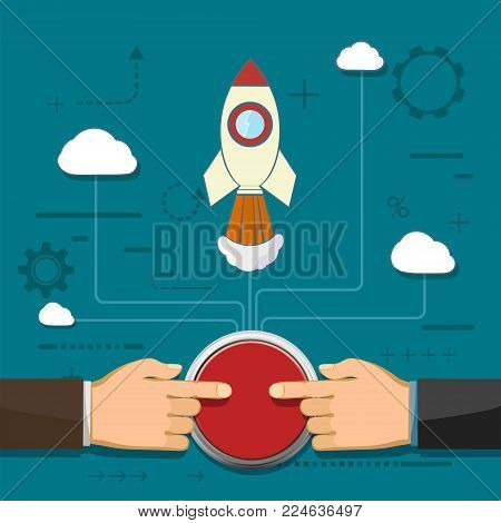 Rocket is flying in the clouds. Partnership and cooperation. Creative and success in a business startup. Two businessmen push the button. Stock vector illustration.