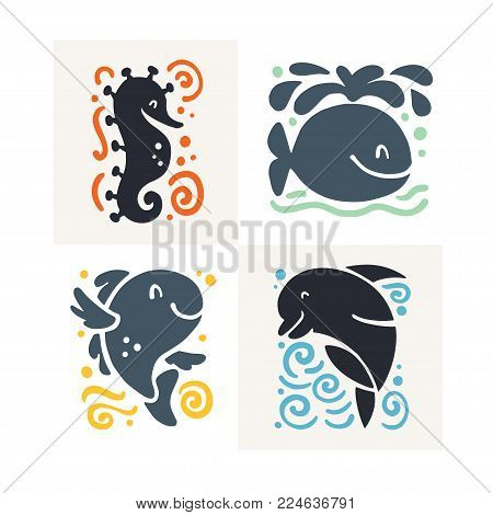 Vector flat cute funny hand drawn marine animal silhouette isolated on white background - seahorse, whale, fish and dolphin. Perfect for children goods shop logo, kid clothes and accessory prints, zoo