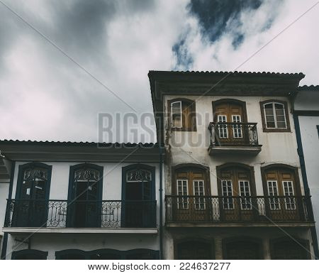 Old colonial house in Ouro Preto, a former colonial mining town in Minas Gerais, Brazil, designated a World Heritage Site by UNESCO