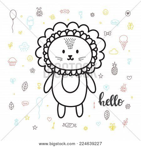 Cool Boy. Cute Hand Drawn Postcard With Funny Cat. Poster For Little Boys. Doodle Style. Sketchy Cha