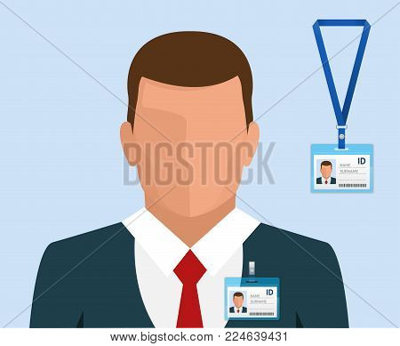 Man in suit with red tie and id badge Employees Identification White Blank Plastic Id Cards with Clasp vector illustration in flat style