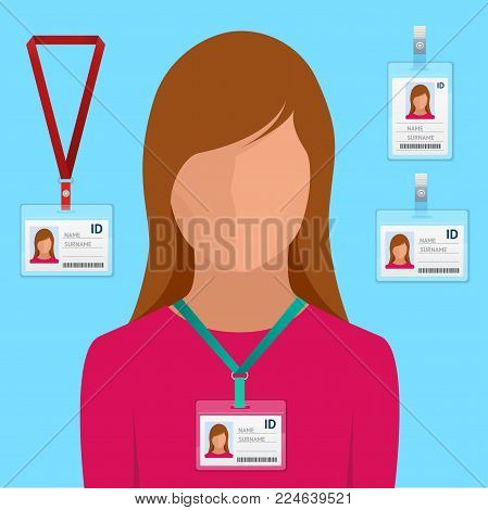 Woman in suit with red tie and id badge Employees Identification White Blank Plastic Id Cards with Clasp vector illustration in flat style