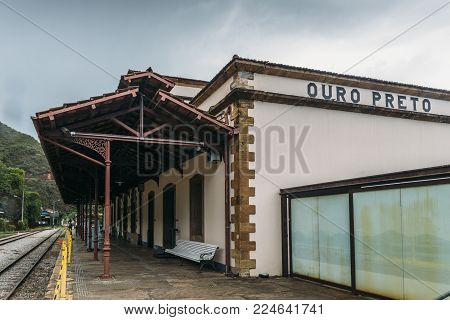 Ouro Preto, Brazil - Dec 28, 2017: Ouro Preto, Minas Gerais, Brazil rail station constructed in 1883 to facilitate extraction of the region's mineral wealth