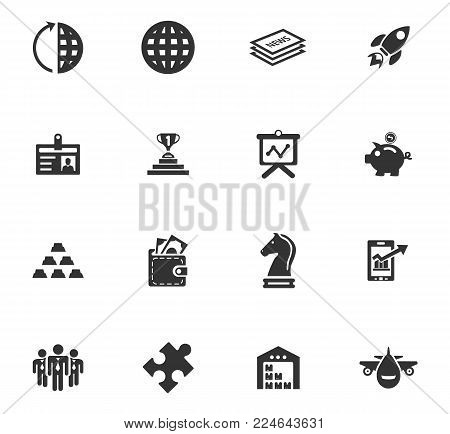Business icons set, emblems and smbols for web design