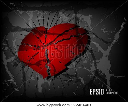 Dark scratch grunge background with broken heart