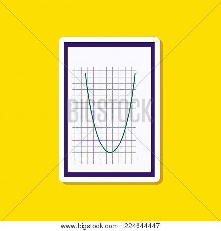 paper sticker on stylish background of Mathematics graph