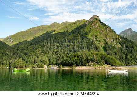 a lake of the french pyrenees mountains