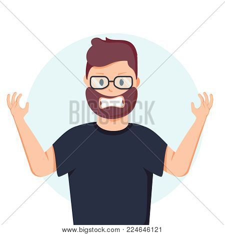 Anger. The evil man expresses his negative emotions. Vector illustration in cartoon style. Agressive Adult guy character. Feeling annoyed and frustrated concept
