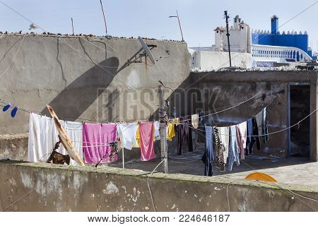 Roof with washing line in the medina of Essaouira in Morocco