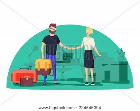 Rent apartment or room. Man rents accommodation. Vector flat illustration. Happy excited homeowner receiving his new house keys from a real estate agent. Moving to new flat