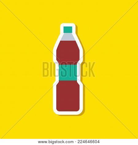 paper sticker on stylish background of soda bottle