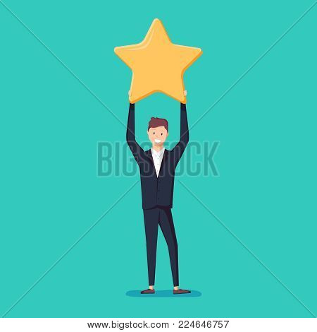 Businessman hold a big gold star. Victory, rating. Vector, illustration, flat. Positive star feedback. Victory or classification rating concept. Quality assurance survey.