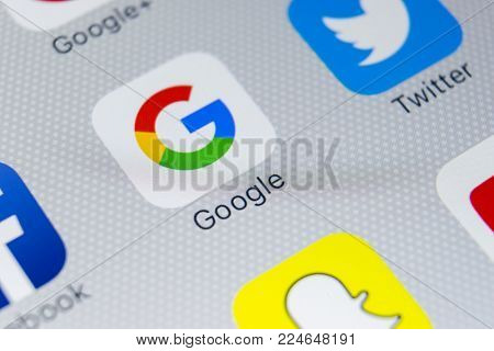 Sankt-Petersburg, Russia, February 1, 2018: Google application icon on Apple iPhone 8 smartphone screen close-up. Google app icon. Google is the most popular Internet search engine in the world