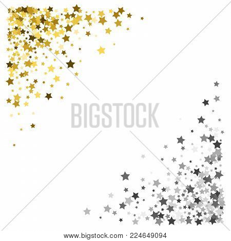 Triangle corner gold vector photo free trial bigstock triangle corner gold and silver frame or border of scatter stars on white background design stopboris Choice Image